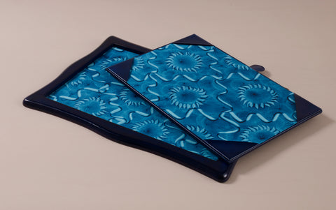 Luxury Blue Leather Sottomani Desk Pad