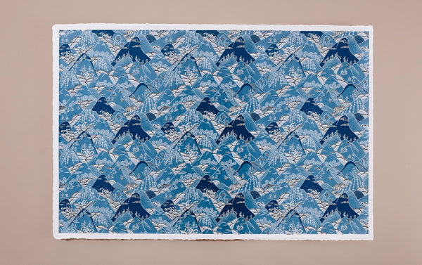 Katazome Silk Screen Print, Mountains