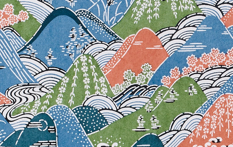 Katazome Silk Screen Print, Pink and Green Mountains