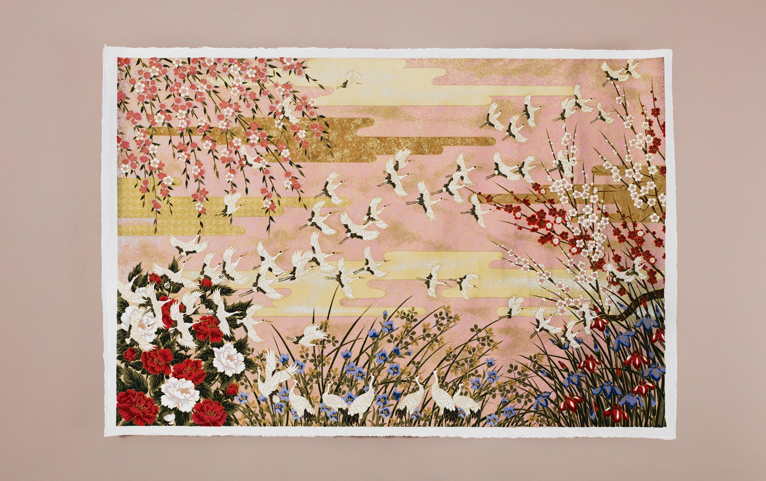 Full-Panel Chiyogami Silk Screen Print, Pink Cranes
