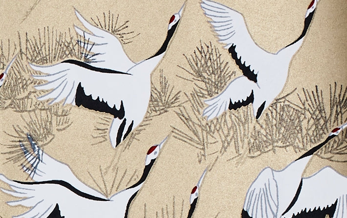 Full-Panel Chiyogami Silk Screen Print, Cranes