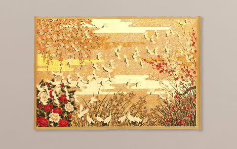 Full-panel Chiyogami Silk Screen Print, Gold Cranes