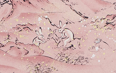 Full-Panel Chiyogami Silk Screen Print, Pink Rabbits and Turtles