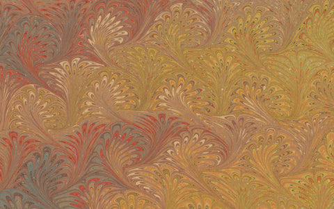 Hand marbled Paper Sheet, Comb No.7