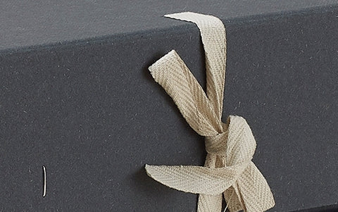 Grey landscape museum archive box, with ribbon fasteners
