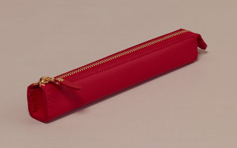 Premium Red Leather Slim Pen Case