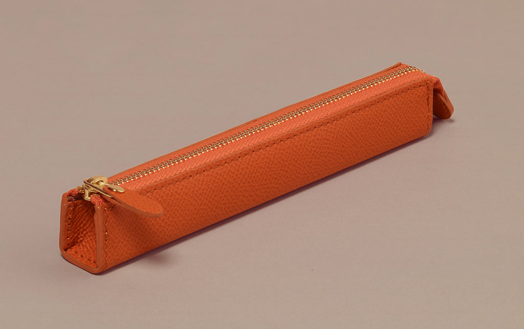 Premium Coral Leather Slim Pen Case