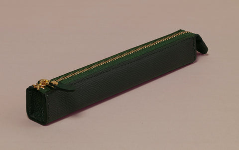 Premium Green Leather Slim Pen Case