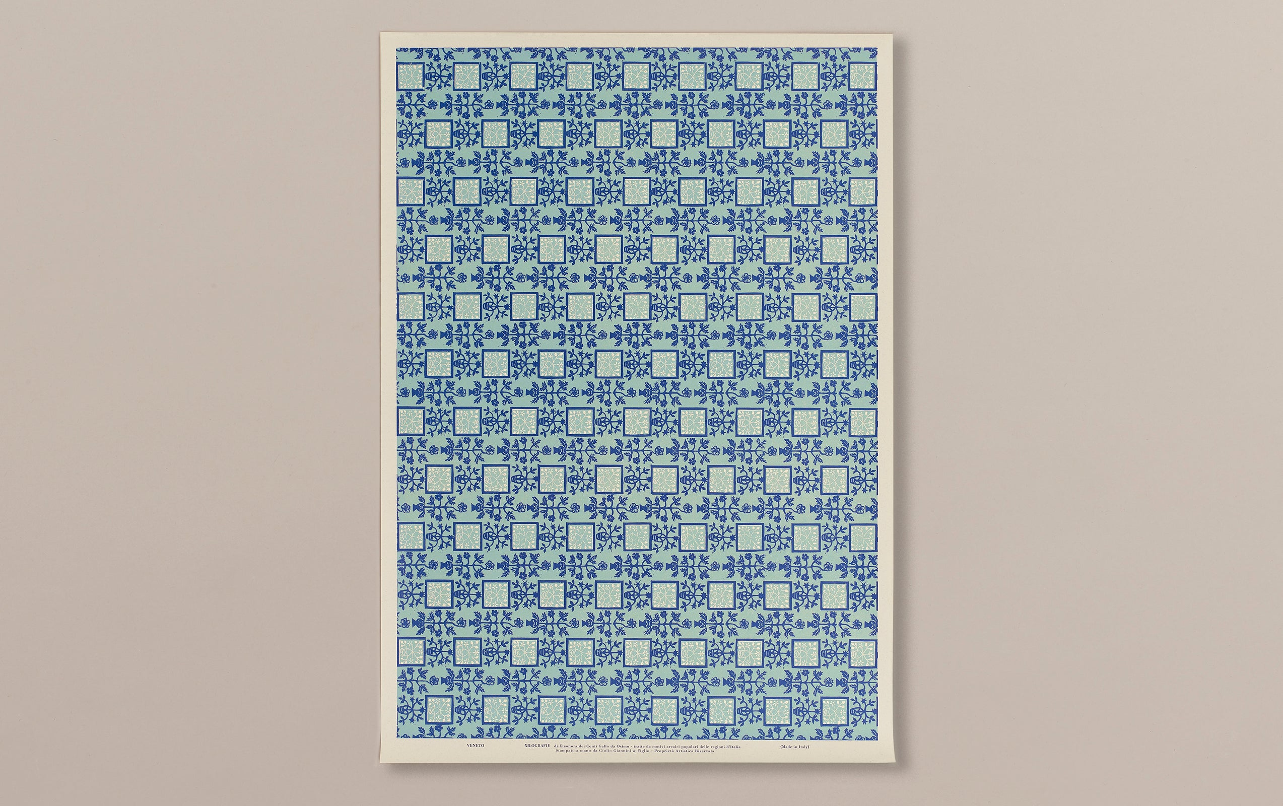 Italian Woodblock Paper Sheet, Venice in Blue