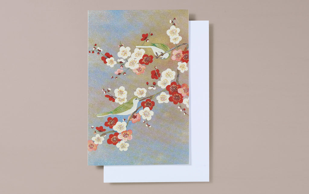 Pearl Foil Birds and Blossom Greeting Card