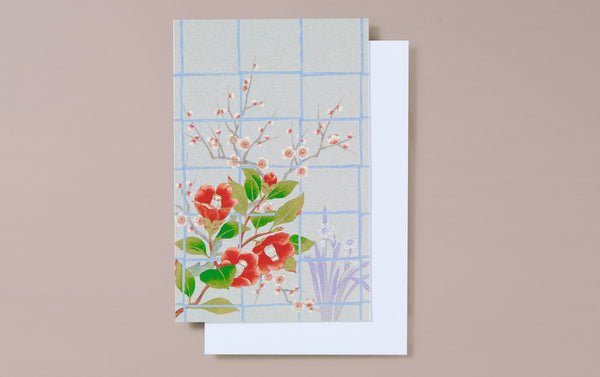 Silver Foil Window with Camellias Greeting Card