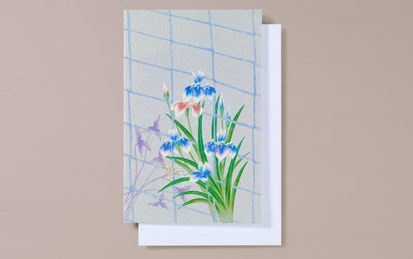 Silver Foil Window with Irises Greeting Card