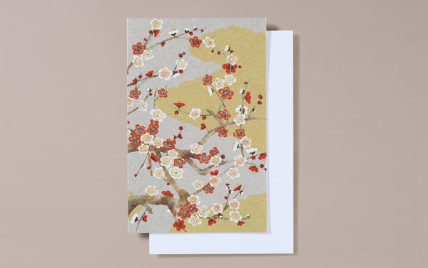 Gold and Silver Cherry Blossom Greeting Card