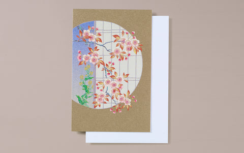 Gold Foil Window with Cherry Blossom Greeting Card
