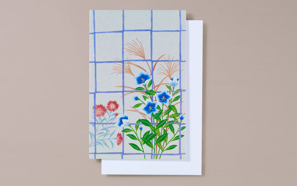 Silver Foil Window with Bluebells Greeting Card