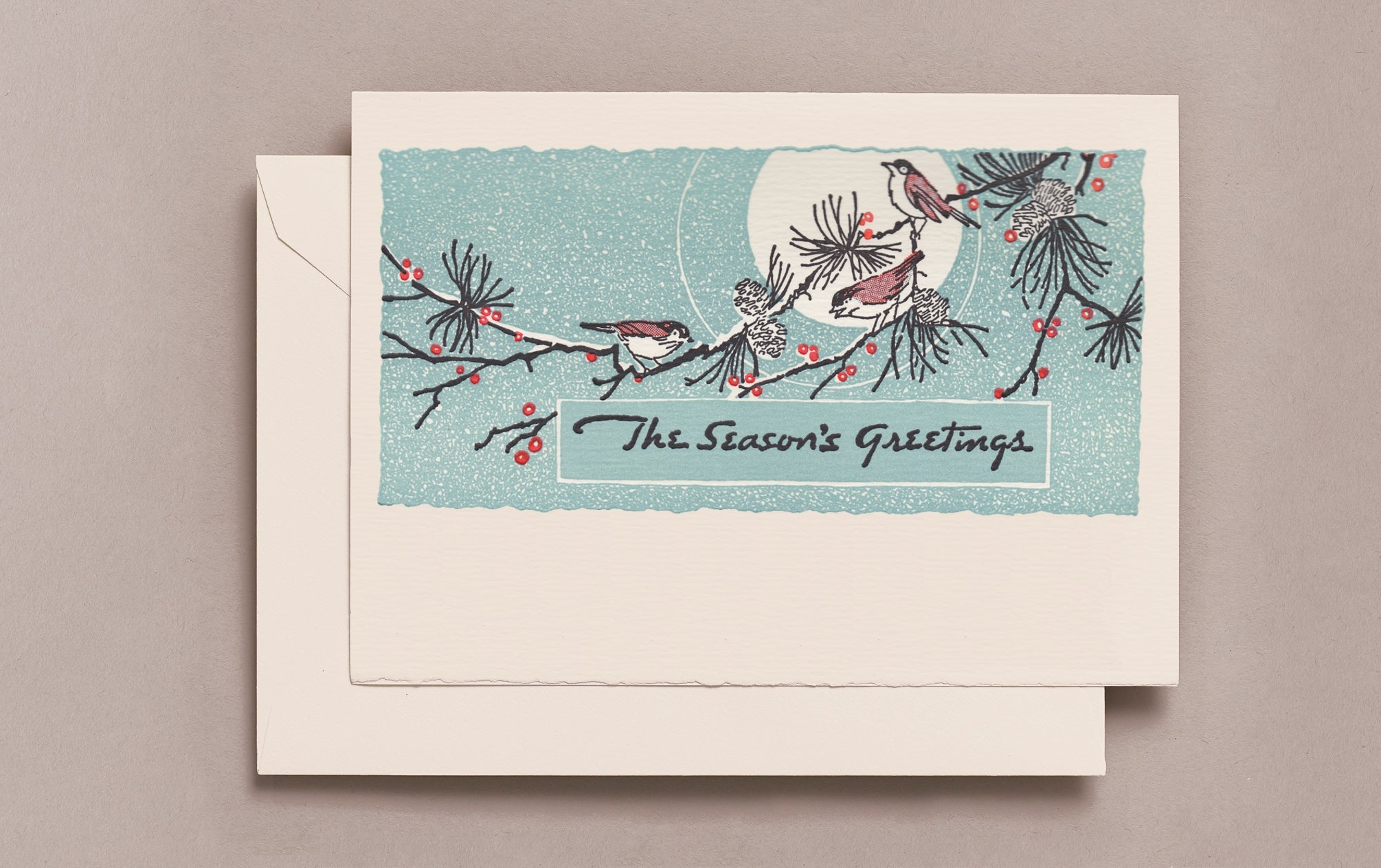 Letterpress Sparrows Christmas Card