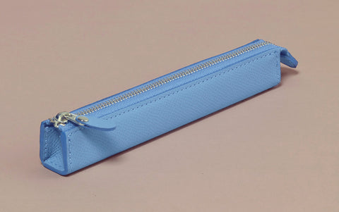 Premium Blue Leather Slim Pen Case
