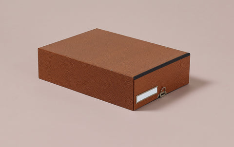 Hardback archival box with drawer and chrome label holder, mottled brown