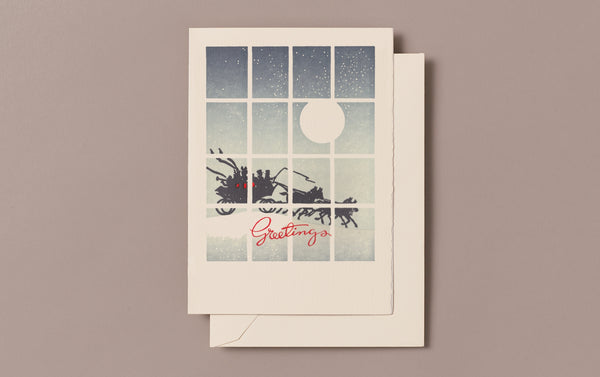 Letterpress Sleigh Christmas Card