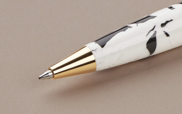 Ohnishi Seisakusho Black and White Celluloid Ballpoint Pen