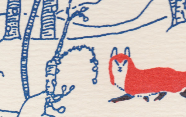 Letterpress Fox in the Snow Christmas Card