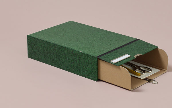 Hardback archival box with drawer and chrome label holder, mottled green