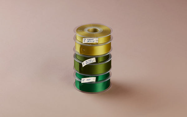 Premium Quality Swiss Ribbon, 25m roll - Greens