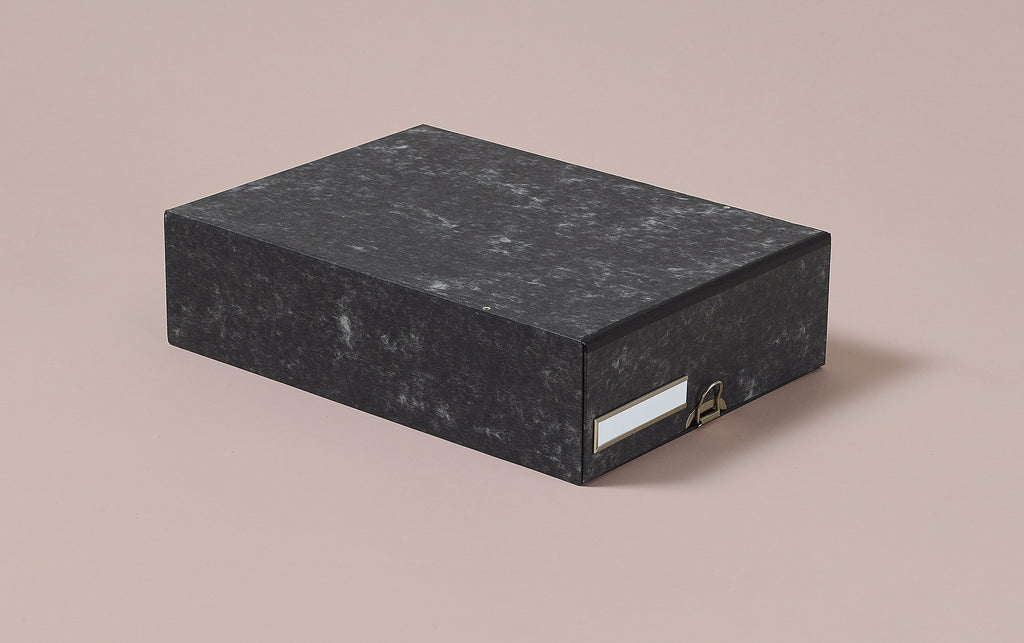 Hardback archival box with drawer and chrome label holder, Grey