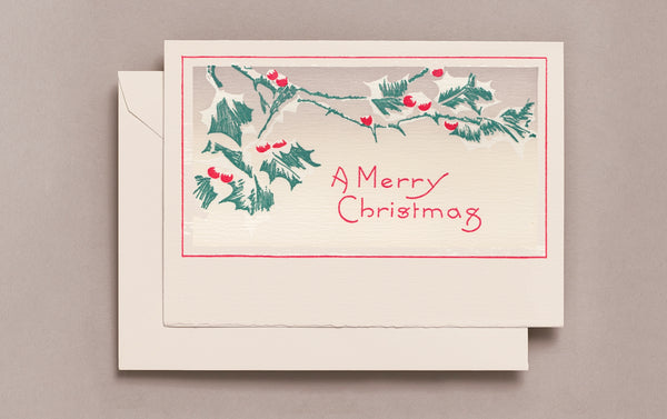 Letterpress Berries in the Snow Christmas Card
