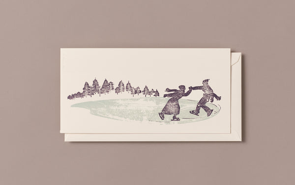 Woodblock Printed Winter Scene Card, Skaters