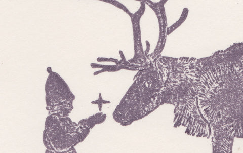 Woodblock Printed Winter Scene Card, Stag and Prayer