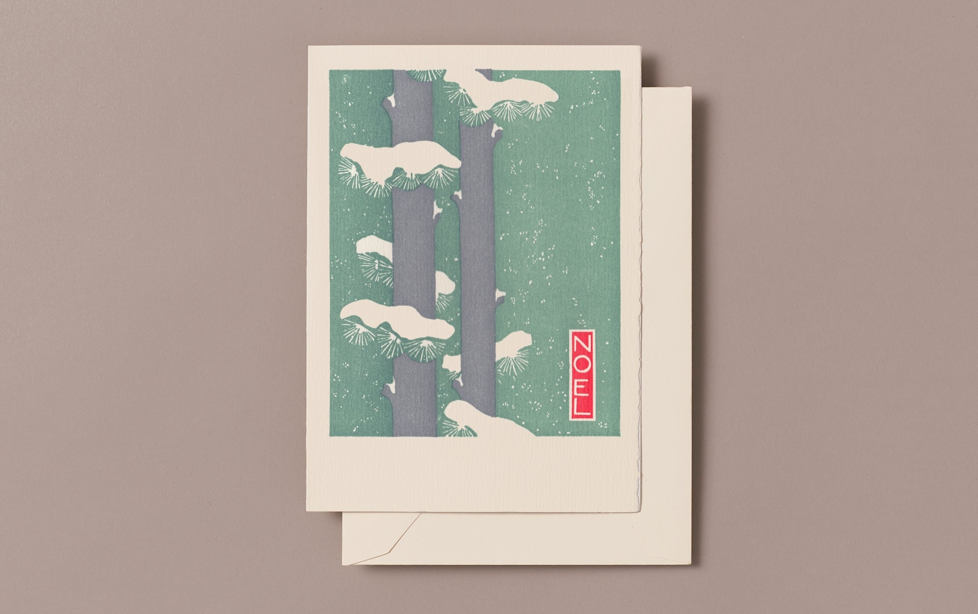 Letterpress Noel Pine Christmas Card