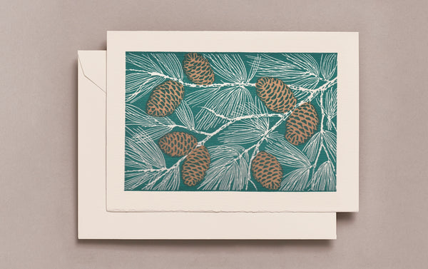 Letterpress Pine Cones Christmas Card