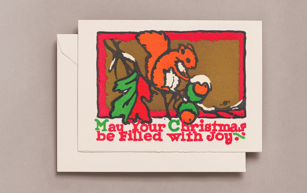 Letterpress Squirrel Christmas Card