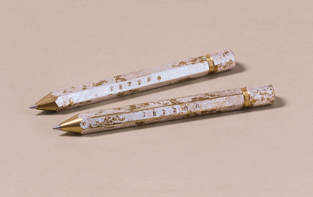 Brass Tetzbo Silver Foil Finish Ballpoint Pen - Short