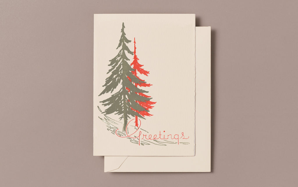 Letterpress Two Trees Christmas Card