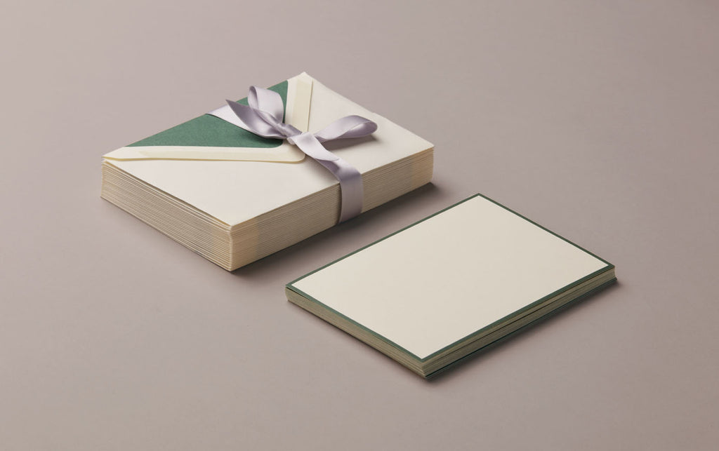 25 Cards & Envelopes - Letter Writing Set Cream/Green
