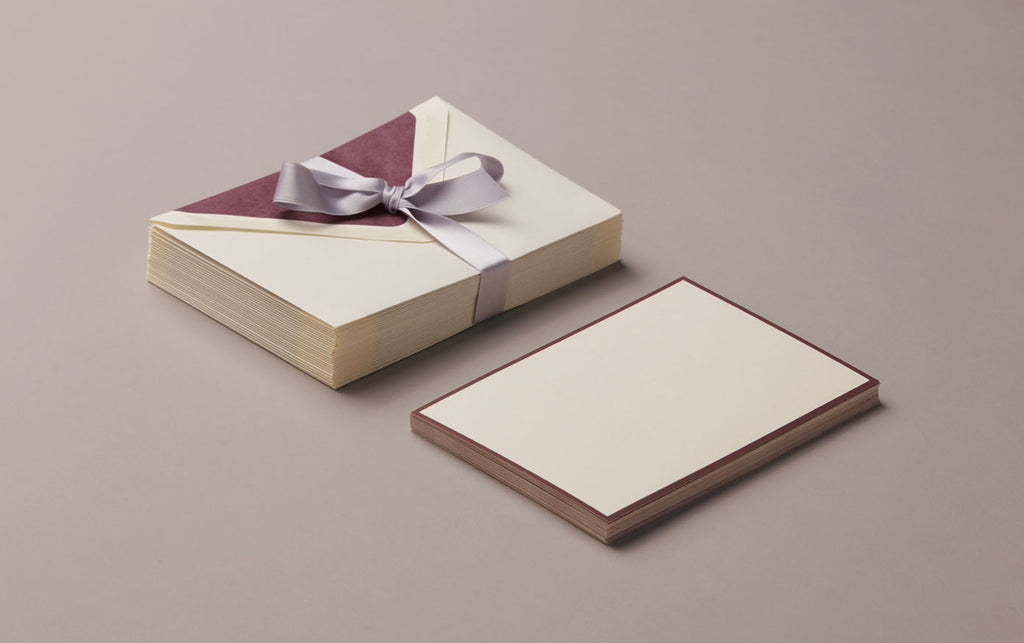 25 Cards & Envelopes - Letter Writing Set Cream/Burgundy