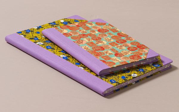 "Hardback ""Composition Ledger"" Chiyogami Notebook, Lilac Spine"