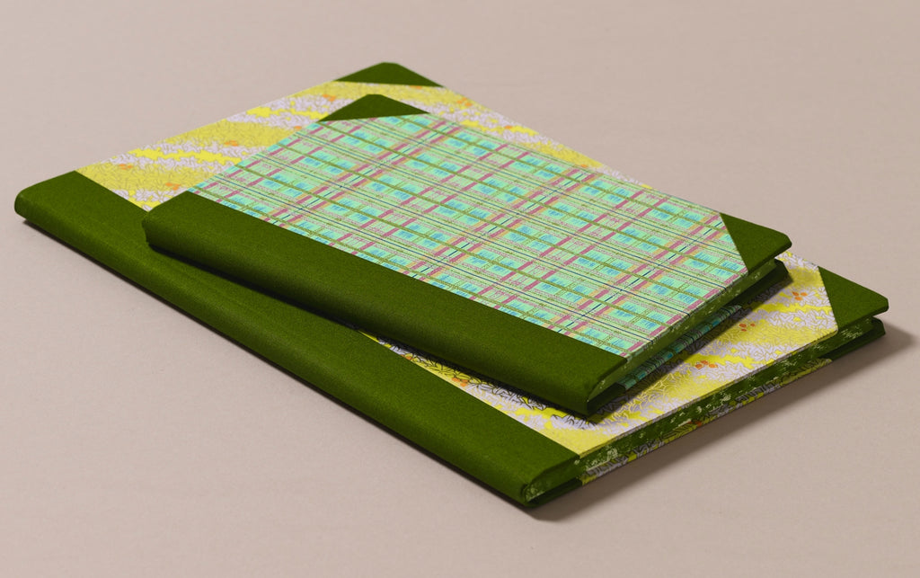 "Hardback ""Composition Ledger"" Chiyogami Notebook, Grass Green Spine"