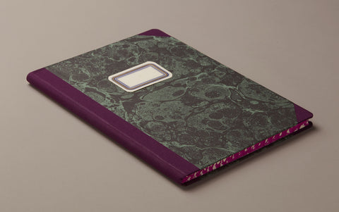 "A4 Hardback ""Composition Ledger"" Marbled Notebook, Violet"