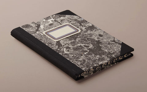 "A5 Hardback ""Composition Ledger"" Marbled Notebook, Black"