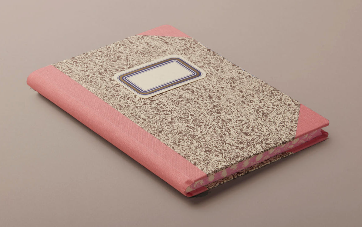 "A5 Hardback ""Composition Ledger"" Marbled Notebook, Pink"