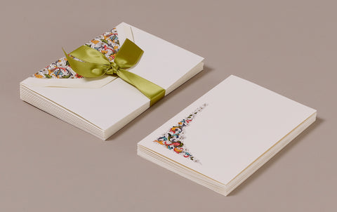 "10 Cards and Envelopes - Letter Writing Set ""Red Florentine"""