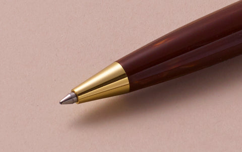 Ohnishi Seisakusho Brown Wood Celluloid Ballpoint Pen
