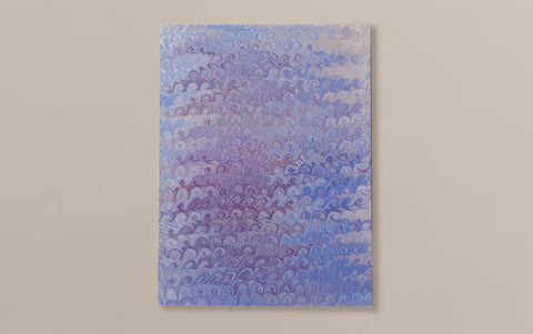 Hand Marbled Paper Sheet, Comb No.9
