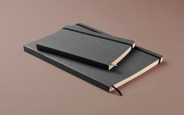 Grey Softcover Faux Leather Notebook with elastic