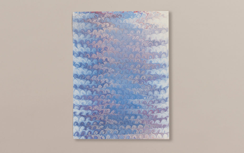 Hand Marbled Paper Sheet, Comb No.8