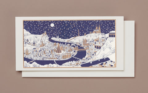 Engraved Winter Christmas City Christmas Card