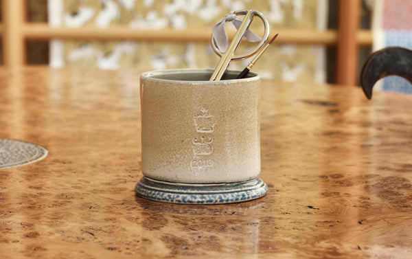 Steve Harrison Ceramic Desk Cup, No.117 Beige Oval Stoneware